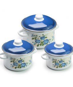 Bộ 3 nồi tráng men cao cấp Blue Rose 2L, 3L , 4L